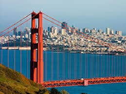 San Francisco Golden Gate bridge city view