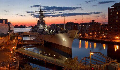 USS Wisconsin Battleship (BB-64) in Norfolk, Virginia, sunset