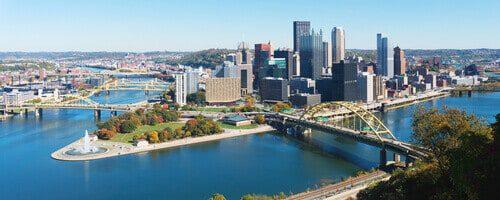 Panoramic view of Pittsburgh Pennsylvania skyline